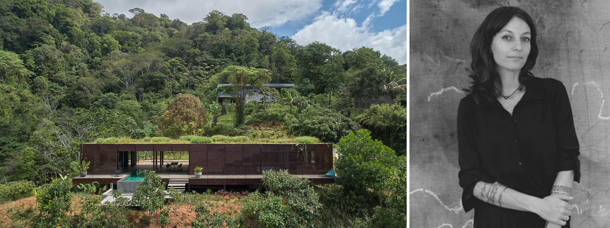 Trái: Biệt thự Nghệ thuật | Atelier Villa, Pérez Zeledón, Costa Rica, Người chiến thắng giải A + năm 2020 trong hạng mục Nhà ở - Nhà riêng lớn; Phải: Dagmar Štěpánová qua ArchTV
