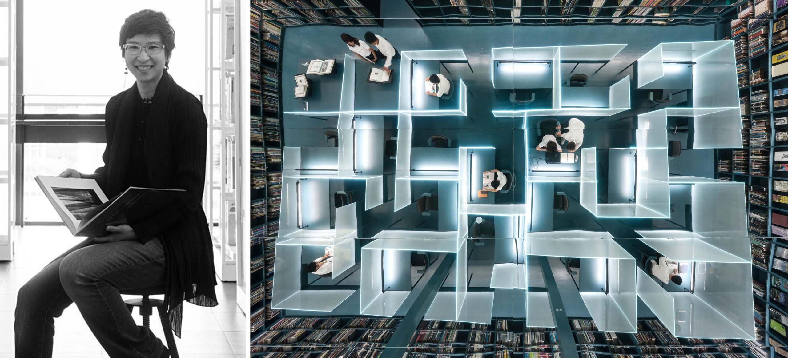 Trái: Twitee Vajrabhaya Teparkum qua Thái Lan Tatler; Phải: Thư viện kiến trúc, Đại học Chulalongkorn Bangkok, Thái Lan