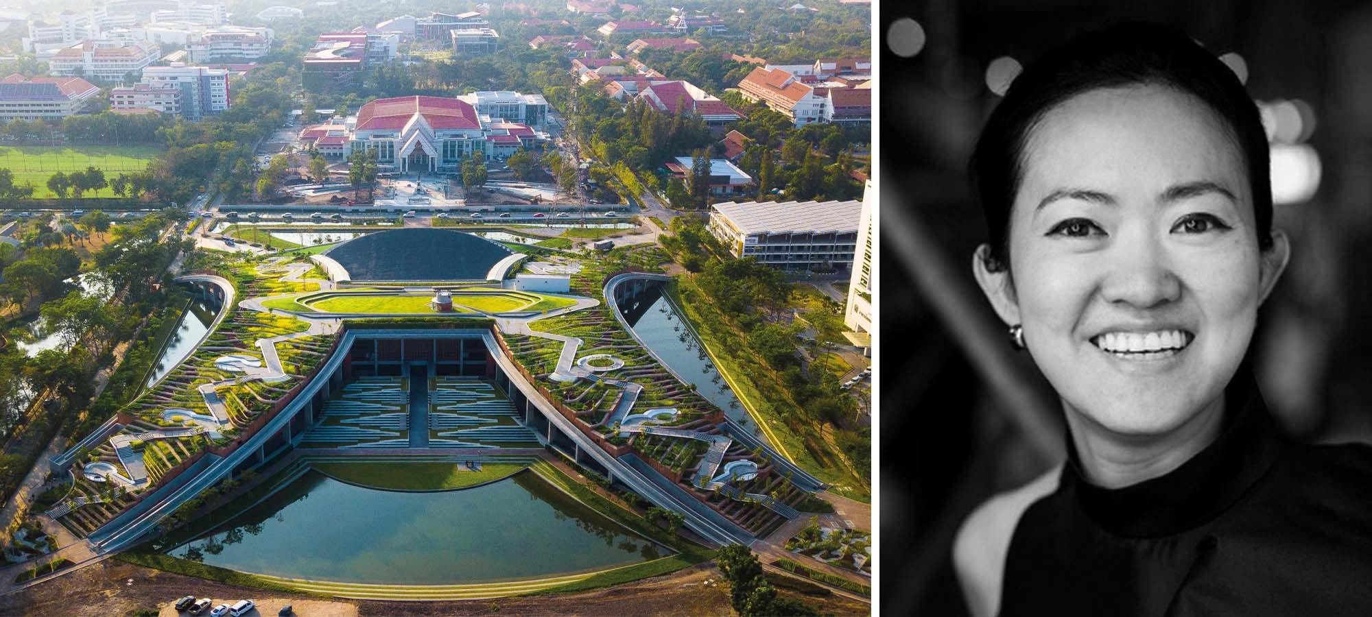 Bên trái: Trang trại Đô thị trên Sân thượng của Đại học Thammasat, Tambon Khlong Nung, Thái Lan, Giải thưởng A + Dự án của năm và Người chiến thắng của Ban giám khảo & Người được yêu thích trong hạng mục Công viên; Phải: Kotchakorn Voraakhom qua Suy nghĩ lại về Tương lai