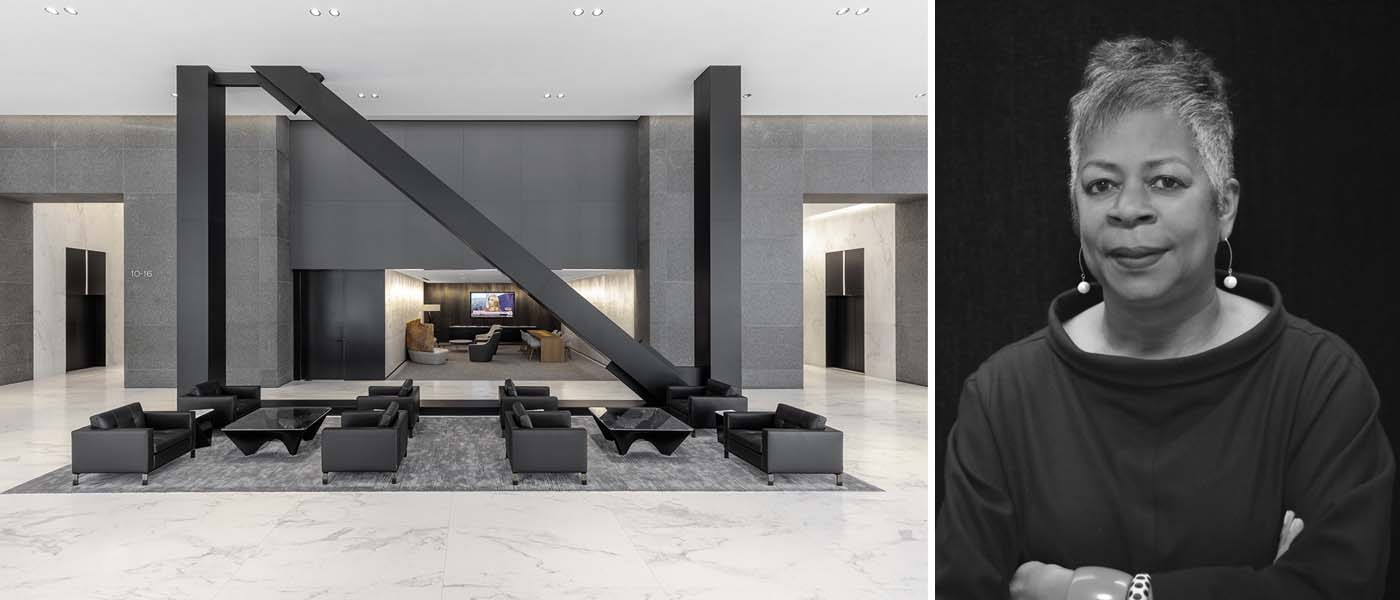 Trái: 525 West Van Buren của TGP Architecture; Phải: Mavis Wiggins