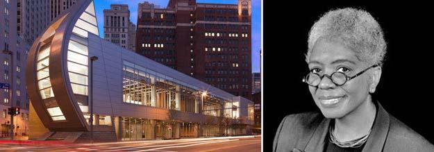 Bên phải: Trung tâm Văn hóa Người Mỹ gốc Phi August Wilson, Pittsburgh, Pa; hình ảnh Khu văn hóa và The Khooll