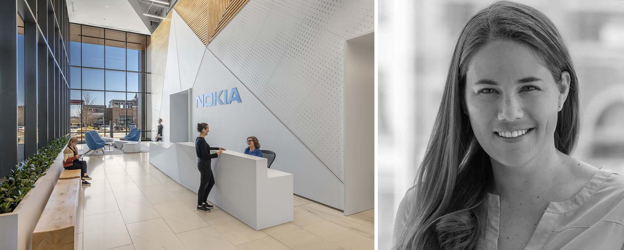 Trái: Văn phòng Nokia tại Dallas, Texas, của CallisonRTKL; Phải: Jodi Williams