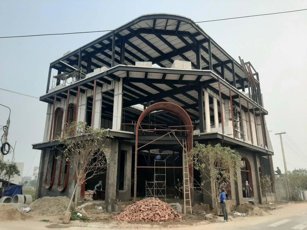Giải pháp thi công bê tông khí chưng áp kết hợp nhà khung thép tiền chế tại Xuân Trường - Nam Định