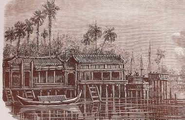 Nhà cửa ven sông Sài Gòn giáp rạch Bến Nghé, trích tranh vẽ trên báo Pháp Le Monde Illustration 4.1859 (ảnh tác giả sưu tầm)