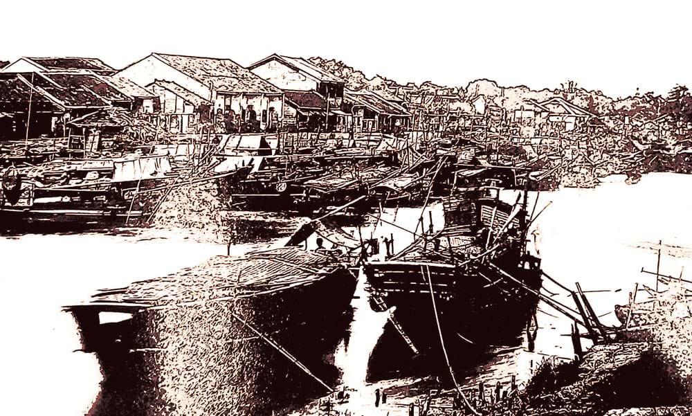 Dãy phố Tàu Khậu ở Chợ Lớn, khoảng 1866. Ảnh của Emille Gsell