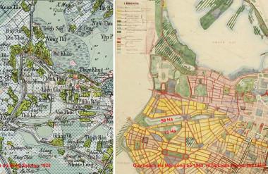 Bản đồ Hà nội 1928 và bản Quy hoạch Hà Nội công bố năm1943.