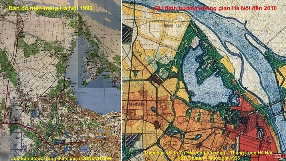 Bản đồ hiện trạng 1992 và Sơ đồ định hướng phát triển không gian đến năm 2010.