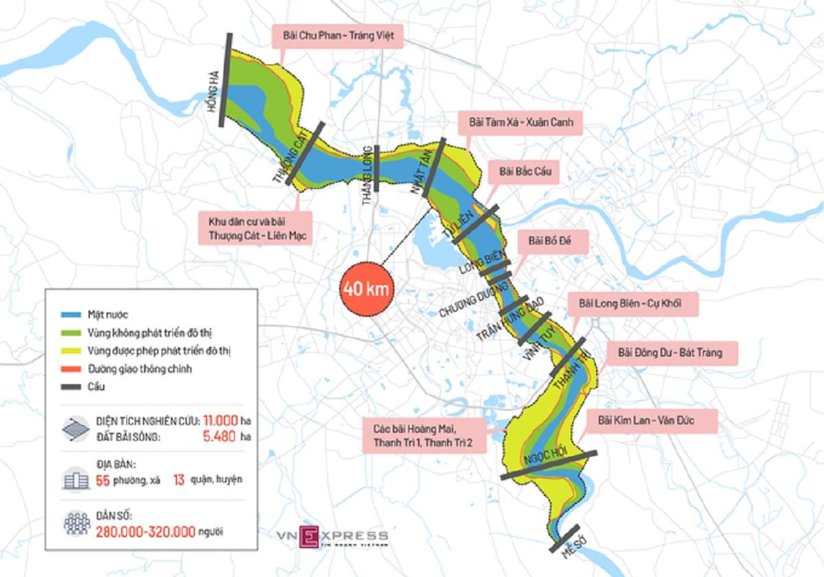 Bản đồ vị trí các bãi sông Hồng và cây cầu trong khu vực quy hoạch. Đồ họa: Tiến Thành