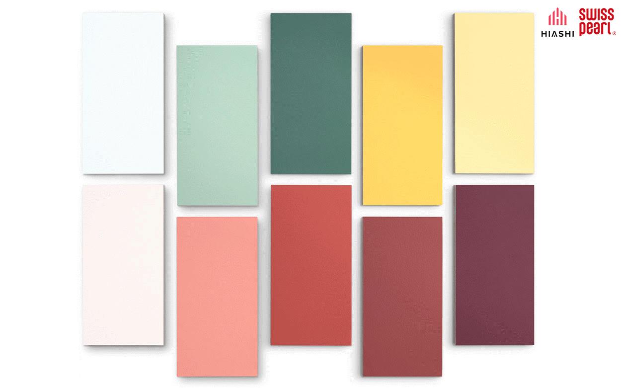 Dòng sản phẩm Swisspearl Planea màu pastel tươi mới.