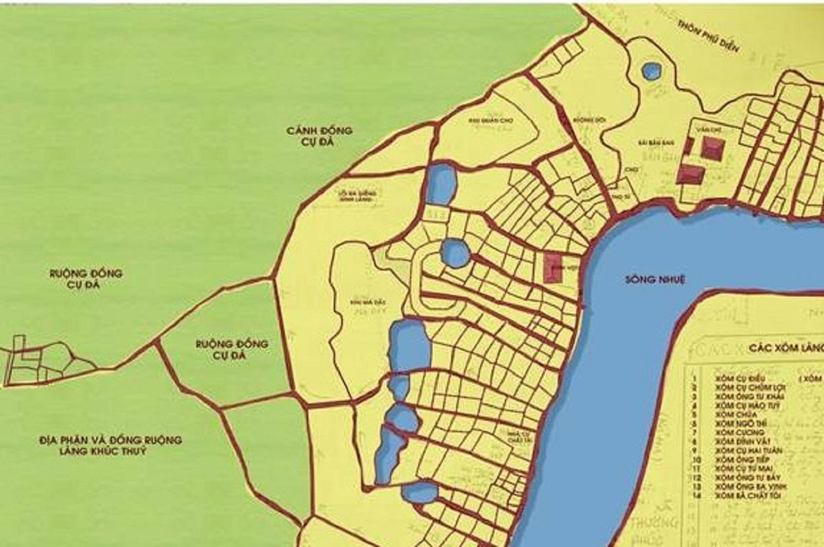 Cấu trúc Làng, tuyến đường chính và các di tích.