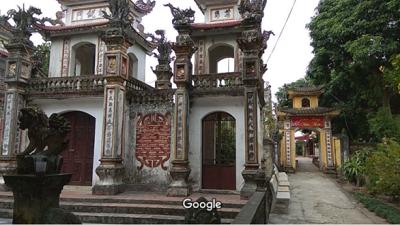 Cảnh quan chùa Phúc Duệ và tổng mặt bằng (nguồn: internet)