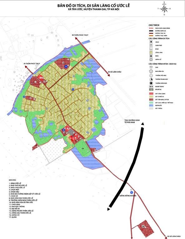 Vị trí các công trình công cộng và tín ngưỡng làng Ước Lễ