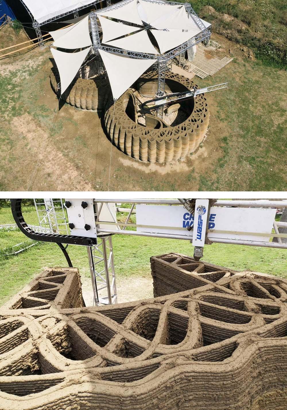 350 lớp đất sét được in làm thành tường nhà. Ảnh: Italdron & Wasp.