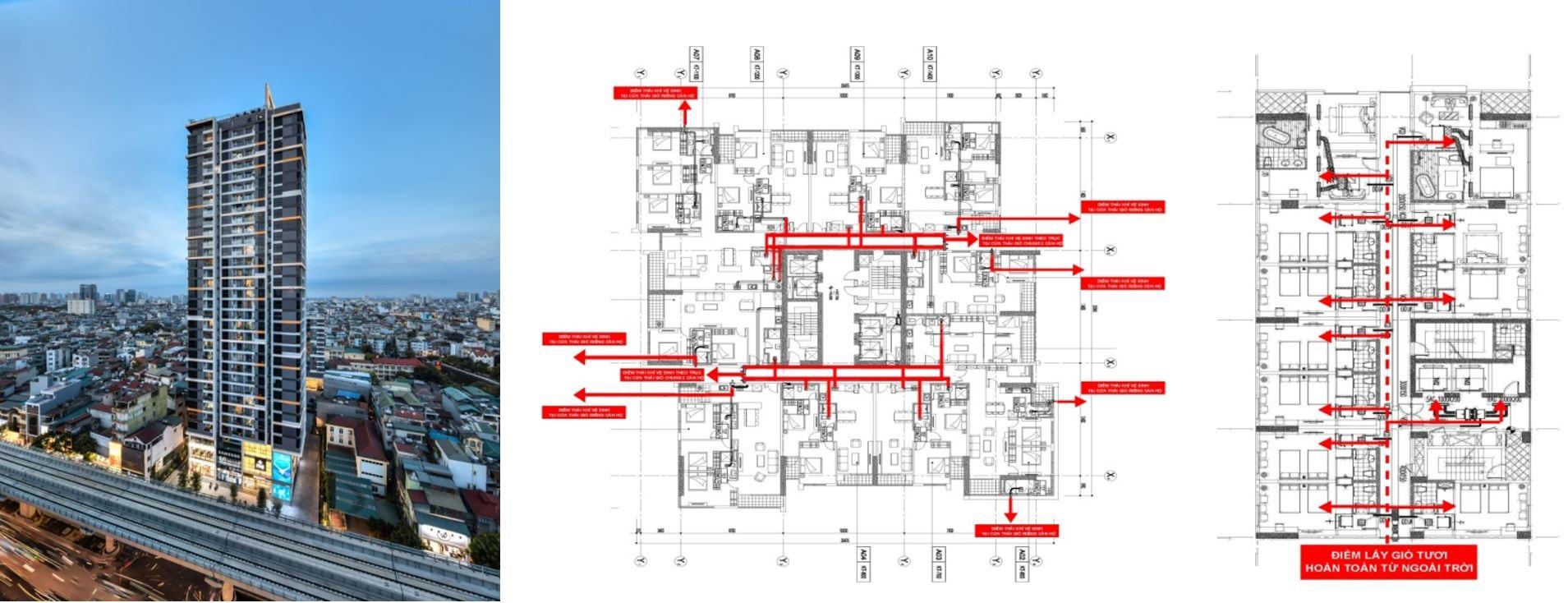 Tổ hợp chung cư Cầu Giấy Centerpoint (110 Cầu Giấy, Hà Nội) dù có quy mô lớn, nhưng thiết kế hệ thống điều hòa có khả năng độc lập cao, các căn hộ ưu tiên tối đa sử dụng riêng miệng thải ra môi trường bên ngoài, hạn chế tối đa khả năng lây nhiễm chéo dịch bệnh