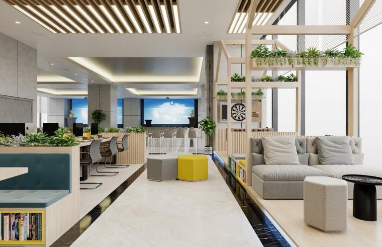 Không gian co-working space với thiết kế hiện đại