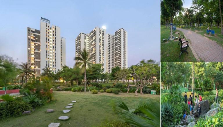 Khu nhà ở có giá bán vừa túi tiền (chỉ khoảng 17 triệu đồng ) Hồng Hà Eco City (Tứ Hiệp, Hà Nội), với điểm nhấn là khu công viên xanh nêu bật các giá trị sinh thái, bền vững.