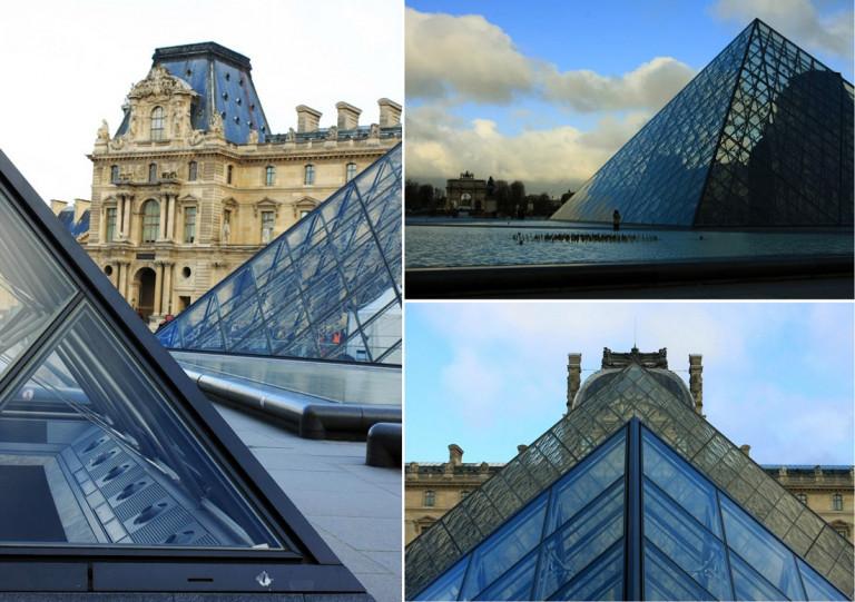 Hình 3a. Cấu trúc mái kính che sảnh đón chính cho khách tham quan là thiết kế mấu chốt và ảnh hưởng thị giác kiến trúc nhất đối với di sản bảo tồn Louvre. Nó mang ý nghĩa của biểu tượng tính trường tồn; đồng thời, giải pháp cấu tạo tối tân của nó góp thêm giá trị kiến trúc thể kỷ hai mươi vào câu chuyện lịch sử vẫn hằng tiếp diễn. [7]