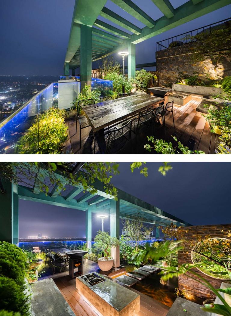 Gia chủ có thể vừa thư giãn ở vườn vừa nhìn ra toàn cảnh thành phố.