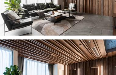 Trần và tường được ốp gỗ, giúp ẩn đi những cánh cửa dẫn vào phòng riêng.