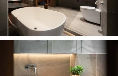 Phòng tắm được bố trí cửa kính, tránh làm ướt không bên ngoài. Nội thất trong nhà vệ sinh đồng bộ với các khu vực khác trong nhà.