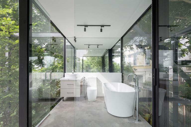Không gian phòng tắm như hoà mình vào thiên nhiên cực chill