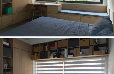 Hệ kệ đa dụng cũng được nhắc lại trong phòng ngủ để tiết kiệm không gian.