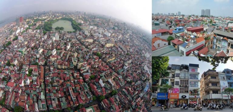 Nhà ở thấp tầng hiện hữu với mật độ dày đặc, quy mô diện tích nhỏ, kiến trúc còn thiếu đồng bộ tại khu vực trung tâm TP Hà Nội