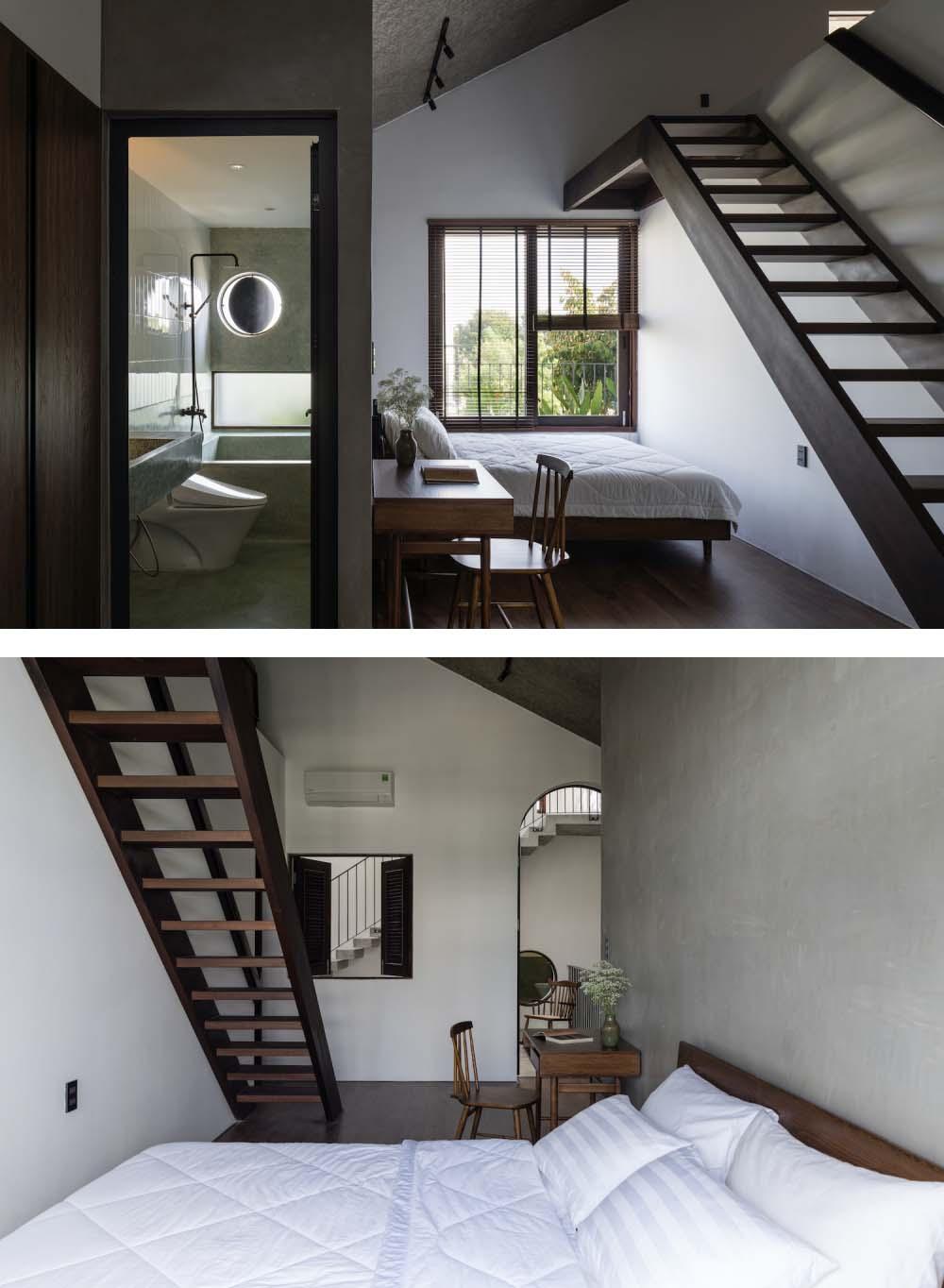 Các phòng ngủ được phân bổ ở tầng trệt và tầng hai.