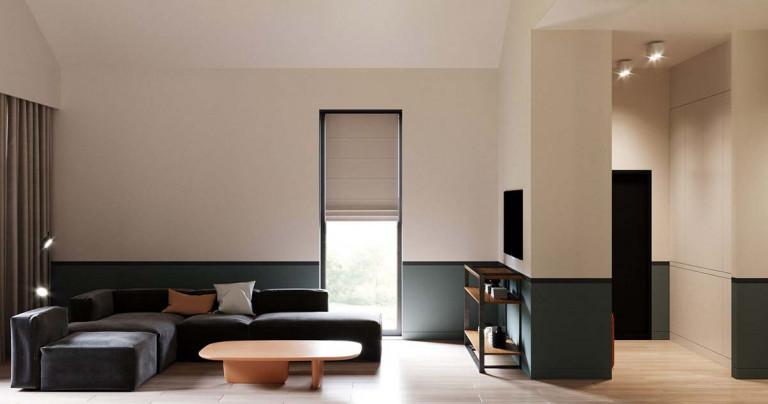 Căn phòng ứng dụng phong cách Color Block bằng các khối màu ngang tạo cảm giác rộng hơn thực tế .Ảnh: Home-designing