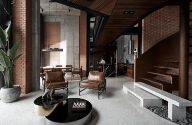 Gia chủ của căn hộ penthouse chọn phong cách công nghiệp mộc mạc, phá cách