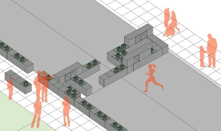Parklet được xây dựng theo dạng tập trung và sử dụng để chặn đường khi có yêu cầu.