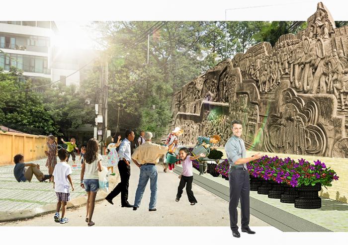 Phối cảnh trang trí tường rào đối diện trường THCS Quang Trung